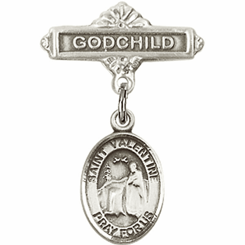 Bliss Godchild Pin Baby Badge with St Valentine of Rome Charm