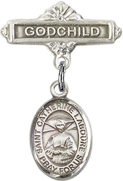 Bliss Godchild Pin Baby Badge with St Catherine Laboure Charm