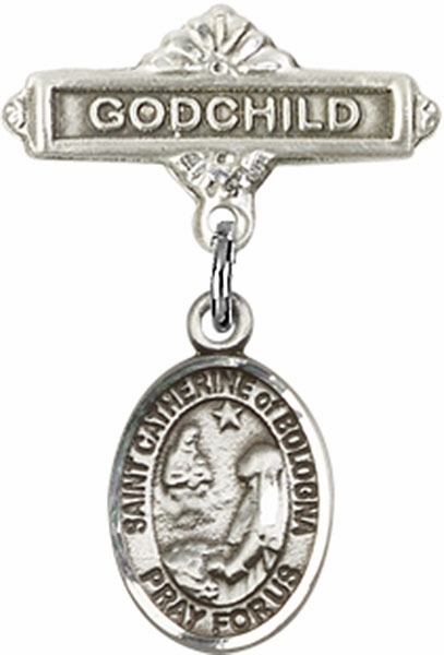 Bliss Godchild Pin Baby Badge with St Catherine of Bologna Charm