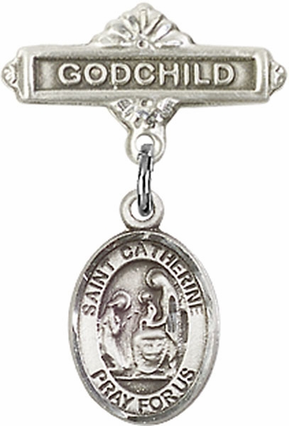 Bliss Godchild Pin Baby Badge with St Catherine of Siena Charm