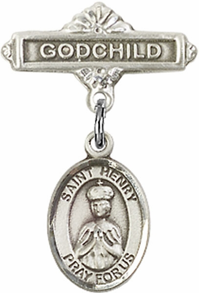 Bliss Godchild Pin Baby Badge with St Henry II Charm