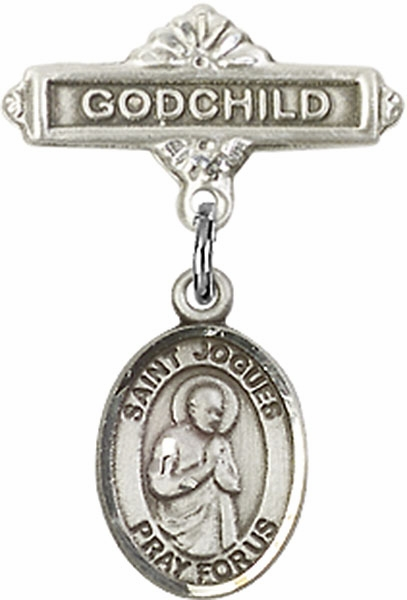 Bliss Godchild Pin Baby Badge with St Isaac Jogues Charm