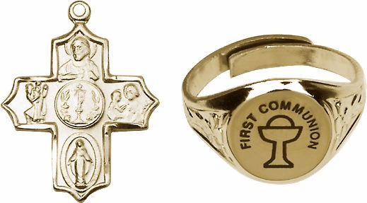 Bliss Gold Communion Chalice Ring and 5-Way Cross Jewelry Set