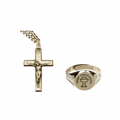 Bliss Gold Communion Chalice Ring and Crucifix Necklace Jewelry Set