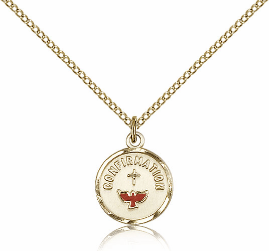 Bliss Gold Filled Confirmation Pendant Necklace w/Red Dove