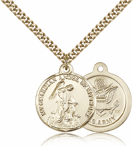 Bliss Gold Filled Guardian Angel Army Pendant Necklace