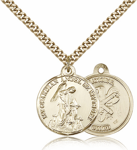 Bliss Gold Filled Guardian Angel US National Guard Pendant Necklace