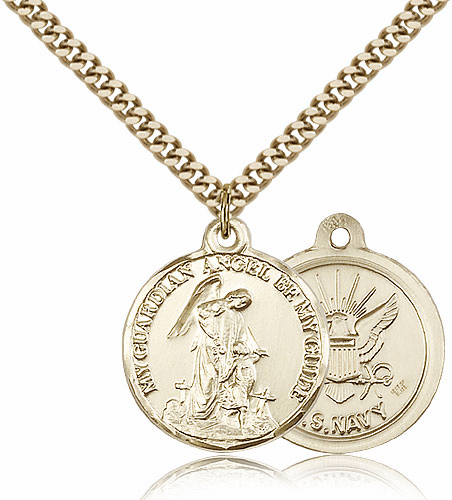 Bliss Gold Filled Guardian Angel US Navy Necklace