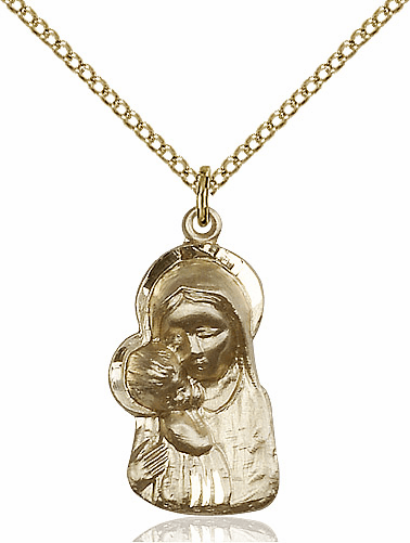 Bliss Gold Filled Madonna & Child Jesus Pendant Necklace