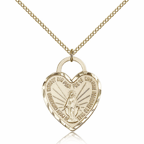 Bliss Gold Filled Miraculous Heart Pendant Necklace