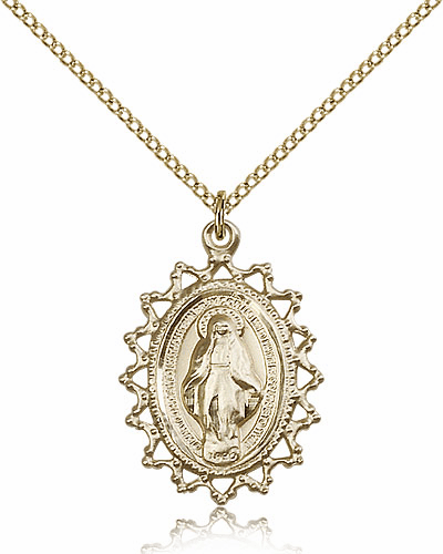 Bliss Gold Filled Miraculous Medal Pendant Necklace