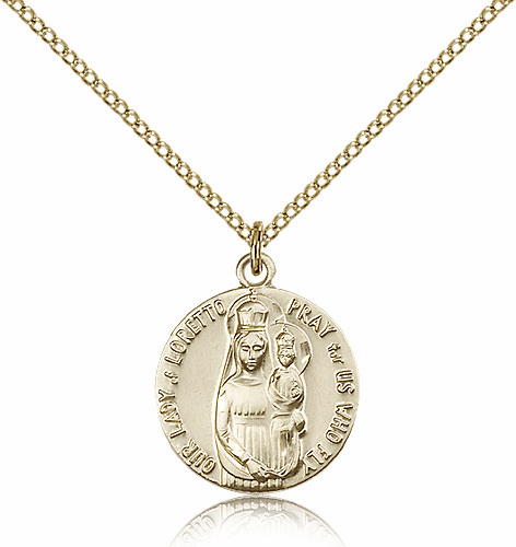 Bliss Gold Filled Our Lady of Loretto Medal Necklace