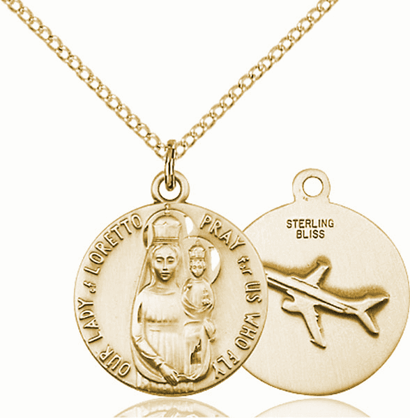 Bliss Gold Filled Our Lady of Loretto Pendant w/Air Plane on Back