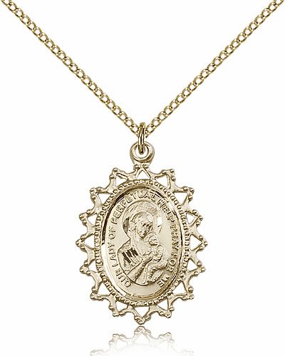Bliss Gold Filled Our Lady of Perpetual Help Pendant Necklace