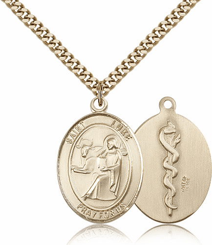 Bliss Gold Filled St Luke the Apostle Doctor/Physician Medical Saint Medal Necklace