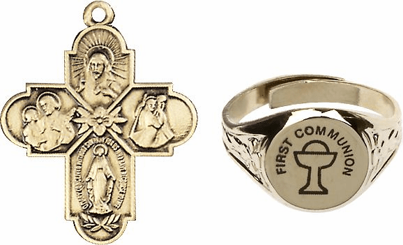 Bliss Gold Holy Communion 4-Way Cross and Chalice Ring Jewelry Set