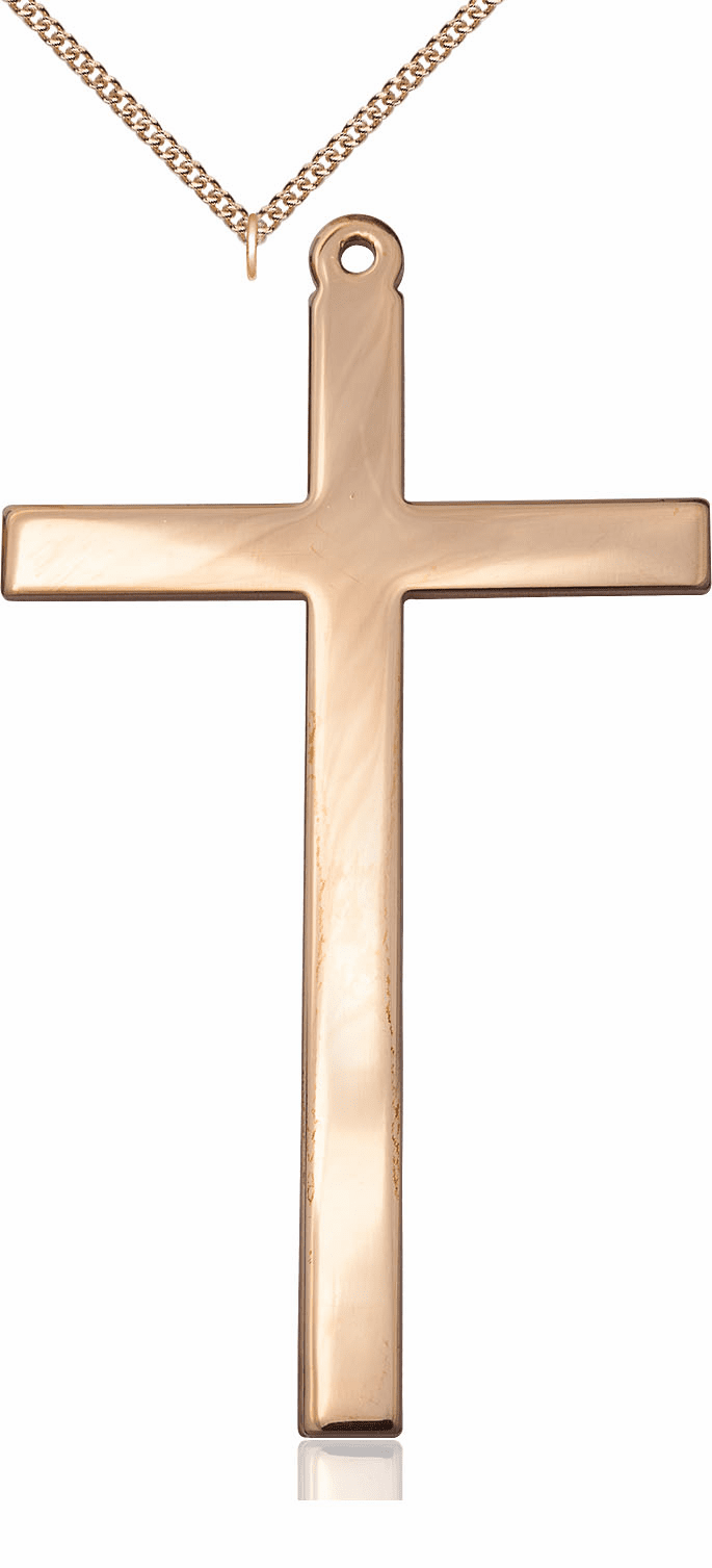 Bliss Gold-Plated Christian Church Cross Medal Pendant Necklace