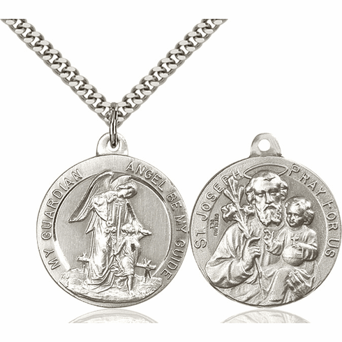 Bliss Guardian Angel and St Joseph Sterling Medal Necklace