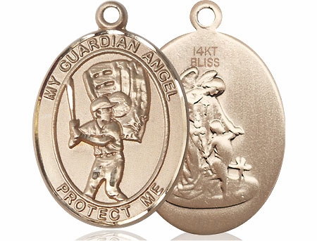 Bliss Guardian Angel Baseball 14kt Gold Patron Saint Medal Pendant