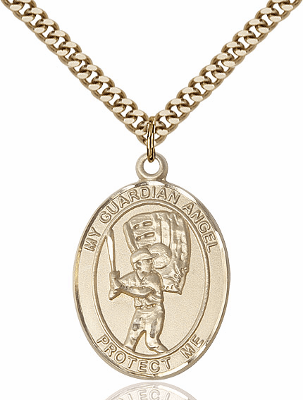 Bliss Guardian Angel Baseball Patron Saint Gold-filled Medal Necklace
