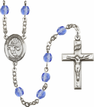 Bliss Guardian Angel Basketball Athlete Silver-Plated Birthstone Rosary