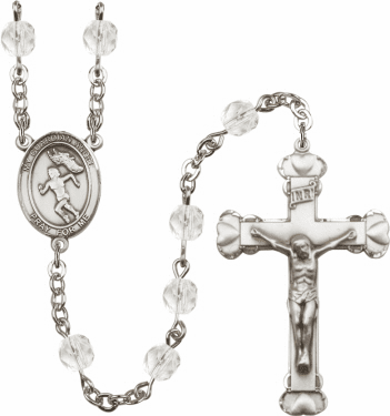 Bliss Guardian Angel Female Track and Field Athlete Silver-Plated Birthstone Rosary