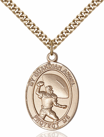 Bliss Guardian Angel Football Patron Saint Gold-filled Medal Necklace