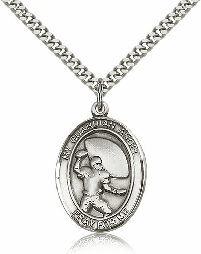 Bliss Guardian Angel Football Silver-filled Saint Medal Necklace by Bliss