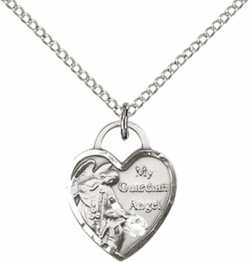 Bliss Guardian Angel Heart April Crystal Birthstone Necklace