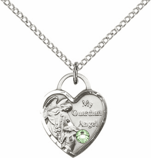Bliss Guardian Angel Heart August Peridot Birthstone Necklace