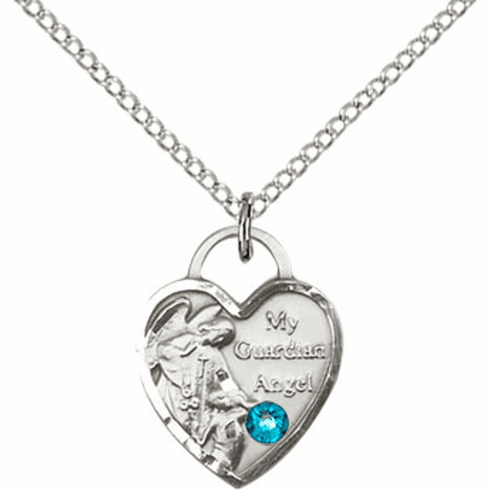 Bliss Guardian Angel Heart December Zircon Birthstone Necklace