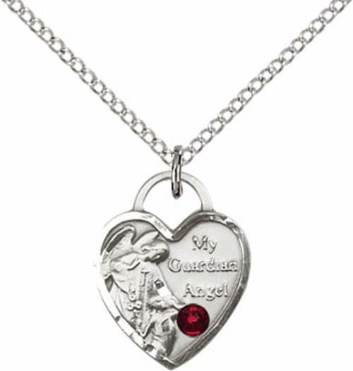 Bliss Guardian Angel Heart January Garnet Birthstone Necklace