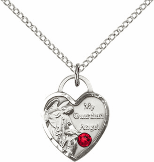 Bliss Guardian Angel Heart July Ruby Birthstone Necklace