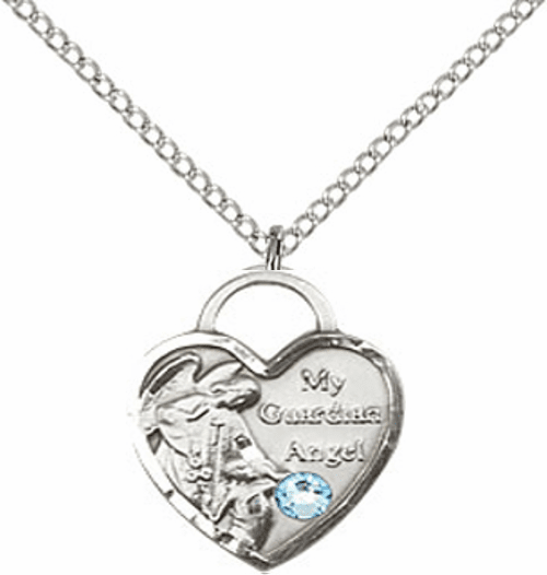 Bliss Guardian Angel Heart March Aqua Birthstone Necklace