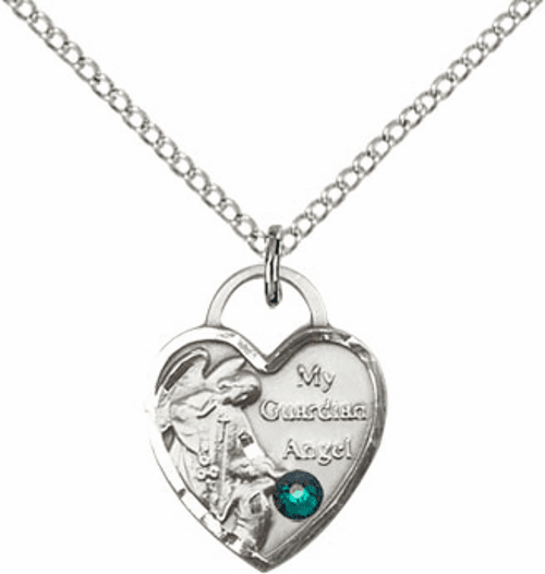 Bliss Guardian Angel Heart May-Emerald Birthstone Necklace