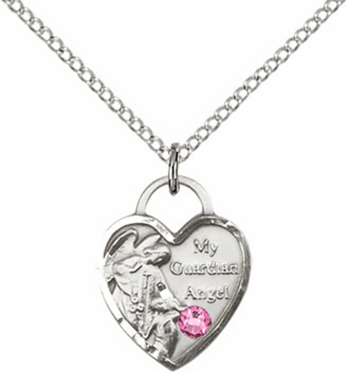 Bliss Guardian Angel Heart Oct-Rose Birthstone Necklace