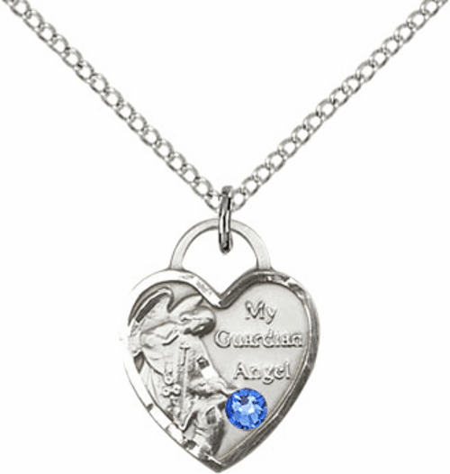 Bliss Guardian Angel Heart September Sapphire Birthstone Necklace
