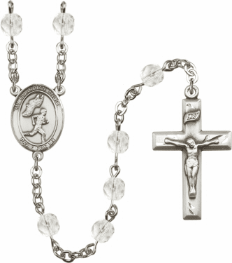 Bliss Guardian Angel Men Track and Field Athlete Silver-Plated Birthstone Rosary
