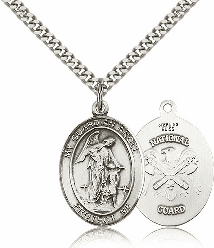 Bliss Guardian Angel National Guard Pewter Patron Saint Medal Necklace
