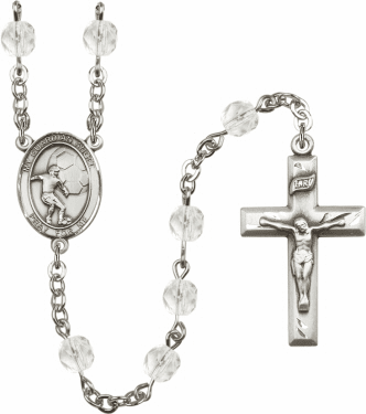 Bliss Guardian Angel Soccer Athlete Silver-Plated Birthstone Rosary