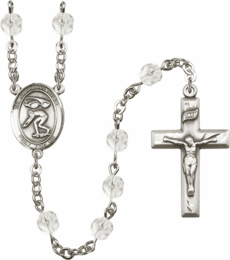 Bliss Guardian Angel Swimming Athlete Silver-Plated Birthstone Rosary