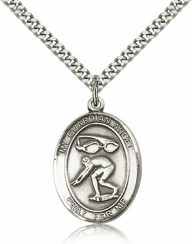 Bliss Guardian Angel Swimming Sterling Silver Sports Necklace