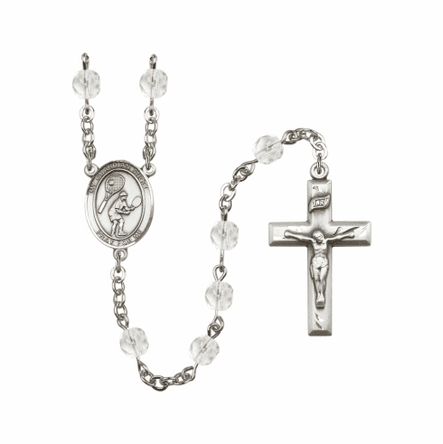 Bliss Guardian Angel Tennis Athlete Silver-Plated Birthstone Rosary
