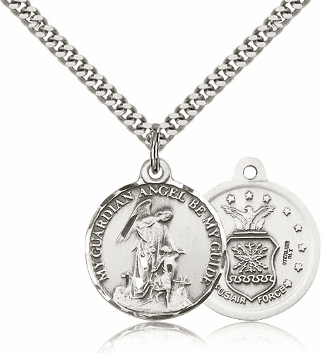 Bliss Guardian Angel US Air Force Silver-filled Pendant Necklace