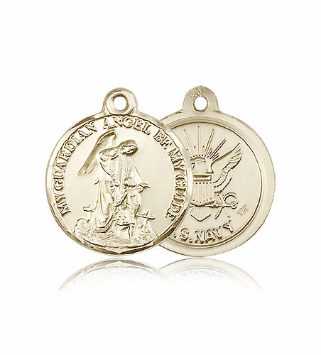 Bliss Guardian Angel US Navy Solid 14kt Gold Religious Medal
