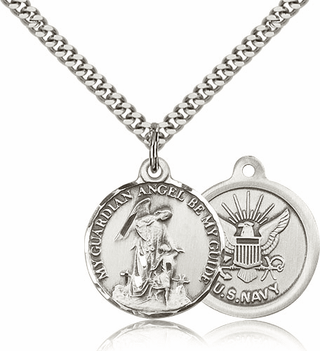 Bliss Guardian Angel US Navy Sterling Silver Medal Necklace