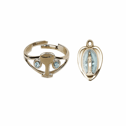 Bliss Holy Communion Gold Chalice Ring with Crystals and Blue Miraculous Heart Necklace Set