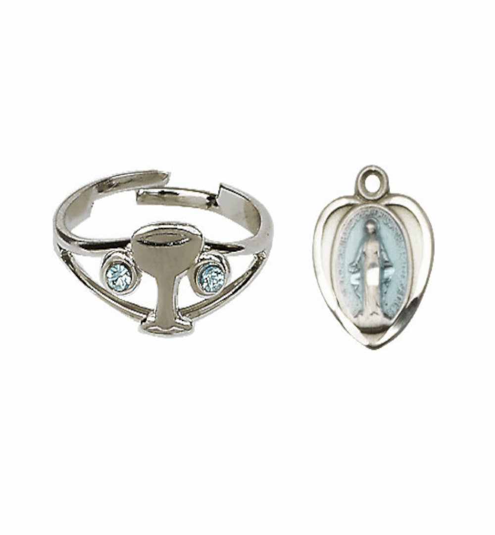 Bliss Holy Communion Silver Chalice Ring with Crystals and Blue Miraculous Heart Necklace Set
