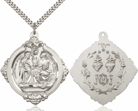 Bliss Holy Family & Twin Hearts Medal Necklace