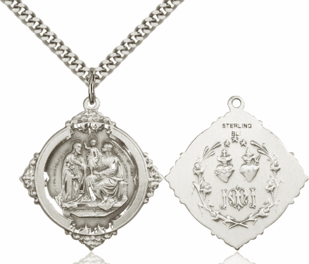 Bliss Holy Family with Twin Hearts Sterling Medal Necklace